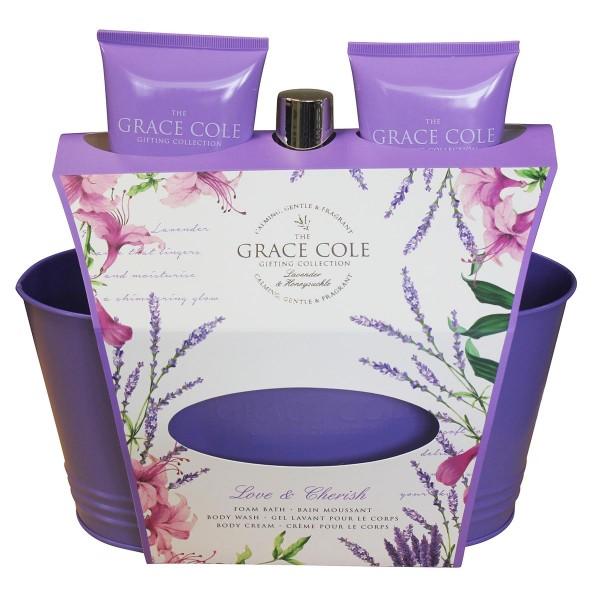 Grace cole lavender&honey love&cherish espuma 250ml + gel de baño 200ml + crema corporal 200ml + cubo metalico