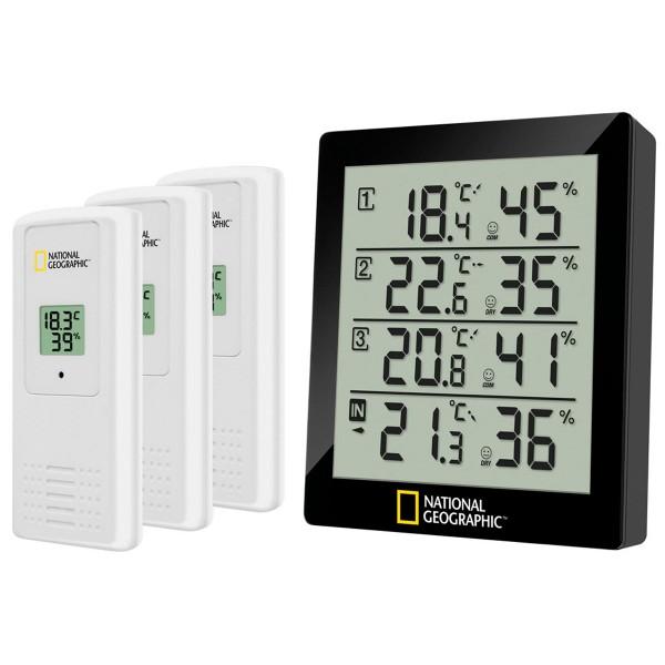 National geographic negro termómetro e higrómetro con 4 datos de medida independiente